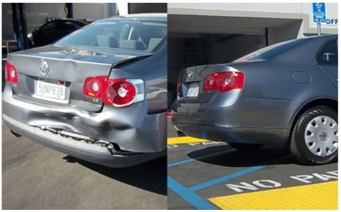 Before and after image of a dented car