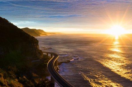 Sunset near sea bank