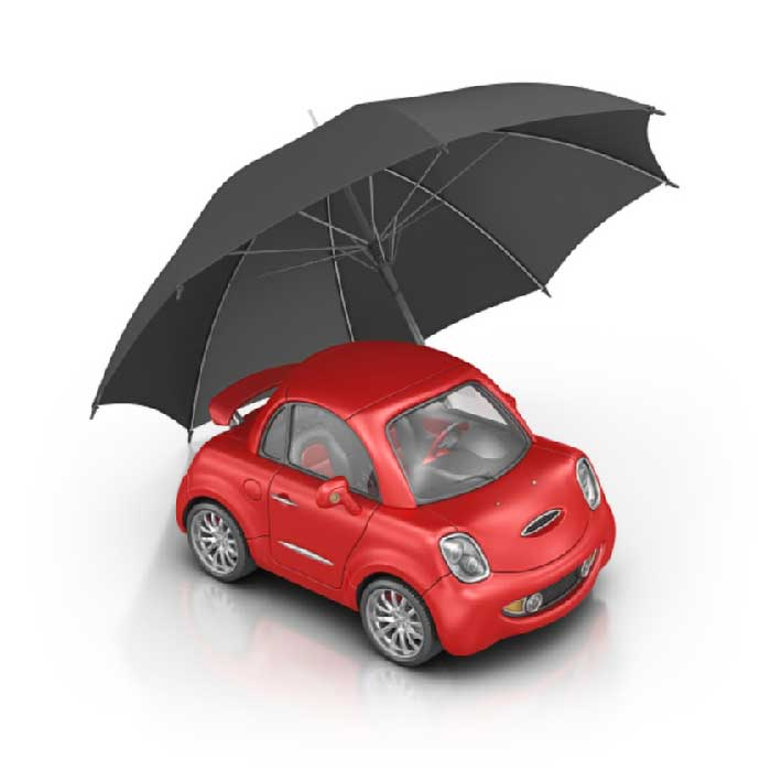 city car with umbrella