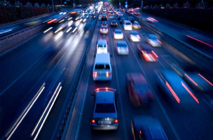 traffic at nightfall