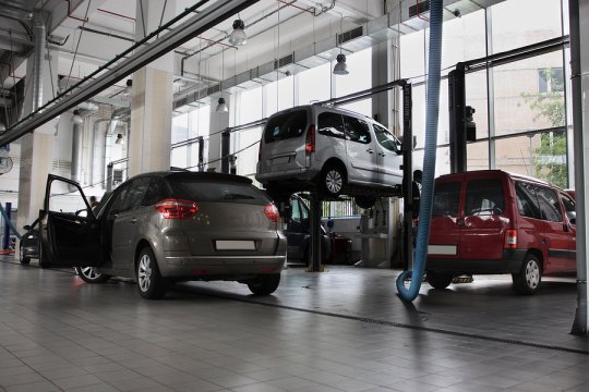 Cars in a car showroom